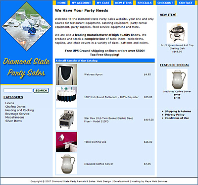 Diamond State Party Sales E-Commerce Web Design Review