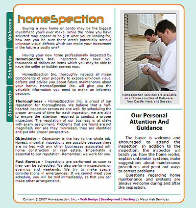 Homespection Web Design Review