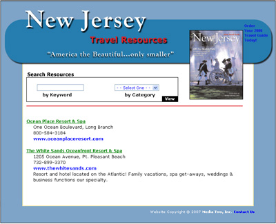 New Jersey Travel Resources Web Design Review